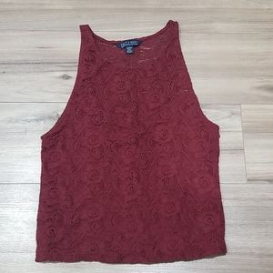 American Eagle Outfitter Maroon lace crop top